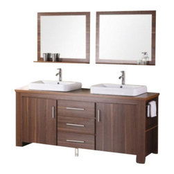 """Design Element - Washington 72"""" Double Sink Vanity Set, Toffee - The Washington 72"""" double-sink vanity in toffee is stylishly constructed of solid plywood panels with veneer laminate. The stylish white rectangular sinks and sleek toffee cabinetry bring style and utility to any bathroom. This vanity includes soft-closing cabinet doors and three pullout drawers all adorned with satin nickel hardware. The sides of the vanity feature a removable towel bar and shelving for additional storage and utility. Two matching mirrors with shelves are included. The Washington Bathroom Vanity is designed as centerpiece to awe and inspire the eye without sacrificing quality functionality or durability."""