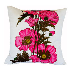 "Alfred Shaheen Bold Pink Floral Pillow - 20"" - Custom-made pillow with vintage pink-floral Alfred Shaheen fabric. Shaheen was a pioneer of the textile and fashion industry in Hawaii. White fabric with hand-painted brilliant pink pattern that continues on the back. Cover is hand-sewn closed."