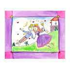 """Oh How Cute Kids by Serena Bowman - Happily Ever After, Ready To Hang Canvas Kid's Wall Decor, 24 X 30 - """"Happily Ever After!""""  Can there be any other ending??  The series goes with 1) Wishing Star ( she makes the wish) 2) """"AS LUCK WOULD HAVE IT"""" she loses her show 3) Wishes and Kisses  ( well you know)  4) """"Happily ever after   There is also 5) Going to the Ball.  I hope you enjoy this series as much as I do.  You can buy one or all five ( sold separately) for easy room decor!"""