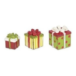 Christmas Packages Set of 3 - This holiday season give the gift of...gifts! This set of three assorted gift packages were designed by Genevieve Gail and feature all-weather paint.