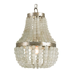 Kathy Kuo Home - Hollywood Regency Glamorous Beaded White 1 Light Chandelier - True glamour is not for the shy or under-confident, and this chandelier expresses the extroverted gorgeousness that makes something truly glamorous.  A classic matte-clear  chandelier finished in silver granello and decorated with oversized beads, this is a Hollywood Regency favorite just begging for its close-up.