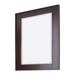 American Imaginations - 32-in. W x 36-in. H Transitional Birch Wood-Veneer Wood Mirror - This transitional wood mirror belongs to the exquisite Flair design series. It features a rectangle shape. This wood mirror is designed to be installed as an wall mount wood mirror. It is constructed with birch wood-veneer. This wood mirror comes with a lacquer-stain finish in Tobacco color. Simple and clean rectangle mirror with a sleek raised border constructed with a high quality premium glass with bevelled edges This Wood Mirror features Chrome hardware. Can be installed vertically or horizontally. No assembly required.