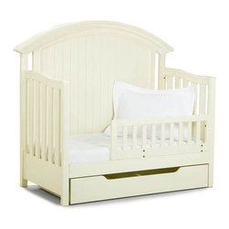 LC Kids - Summer Breeze Convertible Crib/Toddler Bed - Make your little one's transition from crib to bed pain free with this beautifully designed convertible toddler bed. It features posts and a side rail to allow you child the security he needs while still providing the independence he craves. The elegant design and white finish with provide an attractive touch to any nursery. The crib was manufactured in 2011 or later and complies with the new federal safety standards issued by the CPSC. Summer Breeze Collection. Includes 2 posts, 1 rail & 1 guard rail. Crib drawer not included. Select hardwood solids. Crib: 33 in. L x 64 in. W x 54 in. H (150 lbs.). Cribs are designed with stationary sides to eliminate safety concerns. Crib Safety: ivgStores cares about the safety of the products we sell especially for your new little one. We work closely with our manufacturers and only carry those items which meet or exceed federal and state laws. If you are considering buying a new crib or even using a previously owned or heirloom crib, we recommend you visit  cribsafety.org to learn more about crib safety.