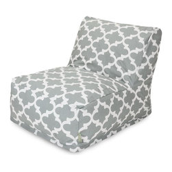 Majestic Home Goods - Gray Trellis Bean Bag Chair Lounger - Add style and functionality to your living room, family room or game room with the Majestic Home Goods Trellis bean bag chair lounger. This Beanbag Chair has the design of modern furniture, while still giving the comfort of a classic bean bag. Woven from cotton duck or twill, these loungers are durable yet comfortable. The beanbag inserts are eco-friendly by using up to 50% recycled polystyrene beads, and the removable zippered slipcovers are conveniently machine-washable. Wash in cold water with a mild detergent such as Wool-Lite and hang dry. Wash in cold water with a mild detergent such as Wool-Lite and hang dry.