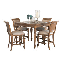 American Drew - American Drew Grand Isle 5 Piece Counter Dining Room Set in Amber - 5 Piece Counter Dining Room Set in Amber belongs to Grand Isle Collection by American Drew The Grand Isle Collection is a lifestyle bedroom and dining room group that offers high end, yet casual up to date tropical style with multiple options for any room of the home; creating a collection that is perfect for many homes, vacation homes or even smaller size vacation condos. The amber finish has a warm overtone with subtle dark burnished accents that make the natural soft distressing show through. Design elements used in Grand Isle include carved and shaped pilasters, woven drawer fronts and a louver motif; all adding a higher end look to the collection. This collection is sure to add a relaxed, yet sophisticated style to most homes and offers plenty of options to help with storage and organization. Counter Height Table (1), Counter Height Barstool (4)