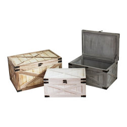 Screen Gems - White and Beige Distressed Wooden Box with metal Corner - Hearken to the good old days in your home. These roughened wooden boxes with a timeless look and metal accents state that you won't settle for anything less than enduringly attractive storage options. Hide away photos, yearbooks and other memorabilia in a way that asserts your appreciation for exceptional style.