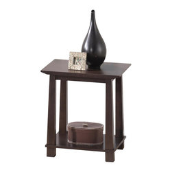 Baxton Studio - Baxton Studio Havana Brown Wood Modern End Table - Simultaneously having a classic and contemporary feel, the Havana End Table is a versatile design with just the right touch for a sophisticated, casual living space. This is a practical yet elegant dual-shelf end table for display of decor, lighting, and more. The contemporary side table is built with dark brown wenge veneered MDF and particle board with eco-friendly rubber wood. To clean, wipe with a dry cloth. Made in Malaysia; assembly is required. A matching Havana TV cabinet, bookshelves, and coffee table are also offered (each sold separately).