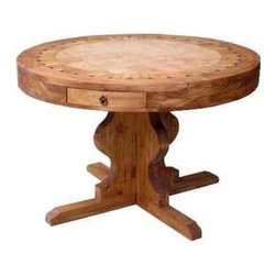 Million Dollar Rustic - 48 in. Round Table w Marble Top (Large) - Choose Size: Large. Two drawers. Warranty: One year. Made from white pine. 48 in. Dia. x 31 in. H (126 lbs.). 60 in. Dia. x 31 in. H (157 lbs.)