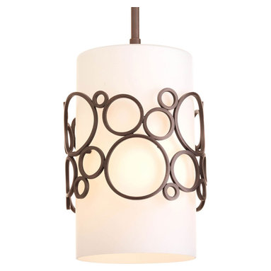 Progress Lighting - Progress Lighting P5314-74 1-Light Mini-Pendant with Opal Etched Glass Cylinder - Progress Lighting P5314-74 1-Light Mini-Pendant with Opal Etched Glass Cylinder