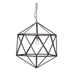 Zuomod - Amethyst Ceiling Lamp - If you like to keep it light, airy and simple, this large metal pendant is sure to satisfy. The modern geometric shape lets the bulb do its thing without further fussy adornment — ideal illumination for your favorite setting.