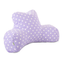 Majestic Home - Indoor Lavender Polka Dots Reading Pillow - You're in good arms — and very cool style — with this pillow. It'll prop you up properly for that page-turner or fave TV show. Plus, it's so easy care: Simply unzip the slipcover and machine wash.
