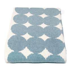 Big Dots Throw - Blue Pond - Add bold geometry to your space with the versatility, practicality, and ease of an elegant cotton knit throw. Made from a blend of yarns including a large proportion of recycled cotton for the optimal balancing of eco-friendly content with soft and luxurious feel, the Big Dots Throw in Blue Pond contributes retro curves and strong contrast to your space's look.