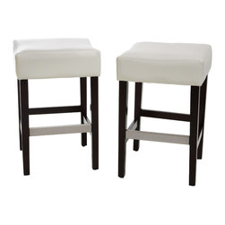 Great Deal Furniture - Barto Leather Backless Stools (Set of 2), Ivory Counter Height - Add comfort to your home with our Barto Backless Leather Counter Stool. Upholstered in fine bonded leather and unique backless design makes it an ideal seat for any get together. Built from hardwood with espresso stained legs, our Barto counter stool is built to last for years to come.