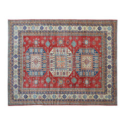 Area Rug, Hand Knotted 8'X11' Geometric Design Super Kazak 100% Wool Rug SH11078 - This collections consists of well known classical southwestern designs like Kazaks, Serapis, Herizs, Mamluks, Kilims, and Bokaras. These tribal motifs are very popular down in the South and especially out west.