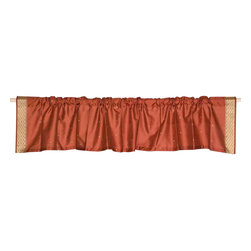 Indian Selections - Pair of Rust Rod Pocket Top It Off Handmade Sari Valance, 43 X 15 In. - Size of each Valance: 43 Inches wide X 15 Inches drop