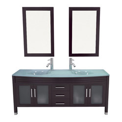 Grand Regent Deluxe Large Double Sink Modern Bathroom Vanity with Glass Top