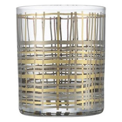 Mingle Bar Glass - I love this mix of metals and modern hatch pattern.