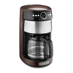 KitchenAid - KitchenAid KCM1402ES 14 - Cup Glass Carafe Coffee Maker - Espresso - KCM1402ES - Shop for Coffee Makers from Hayneedle.com! Whether you're on your first cup or fourth the KitchenAid KCM1402ES 14 - Cup Glass Carafe Coffee Maker - Espresso ensures your coffee will continue to taste great. You'll love being able to choose whether you want regular or bold coffee without giving up the taste of a full-bodied cup every time The variable warmth control lets you choose just how hot you want to keep your coffee for four hours so you don't have to warm your coffee in the microwave. If you're the only coffee drinker in your house or you're looking to only have one or two cups you can easily brew one-to-four cups with the push of a button. The LED digital display shows you the warm indicator brew strength indicator one-to-four cup indicator and even lets you know when your coffee maker needs cleaning for easy use.About KitchenAidFor over 80 years KitchenAid has been devoted to creating innovative cookware that inspires culinary excellence. From the original Stand Mixer first created in Troy Ohio this industry leader now offers a wide assortment of cookware bakeware kitchen accessories and appliances. All products are designed with your cooking needs in mind and are engineered to exceed the highest manufacturing standards. Since 1919 KitchenAid has been synonymous with quality and value. As a result all KitchenAid products are backed by exceptional industry-leading warranties. Check out the complete line today.