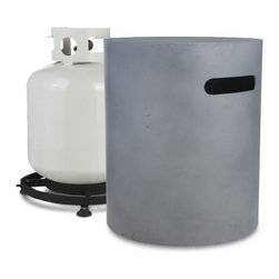 Real Flame - Mezzo 20lb Cylinder LP Tank Holder - Flint Grey - Everybody loves a good barbecue, but who wants to see the propane tank? This handsome cover will have your guests wondering where the gas is coming from for the fire. Simply cover up and get to barbecuing business.