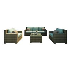 Forever Patio - Hampton 4 Piece Outdoor Wicker Sofa Set, Heather Wicker and Spa Cushions - The incredibly stylish Forever Patio Hampton 4 Piece Rattan Patio Sofa Set with Turquoise Sunbrella cushions (SKU FP-HAM-4SS-HT-SP) will turn your patio into your new favorite spot for gathering with family and friends. The set seats 5 adults comfortably, and includes a sofa, 2 club chairs and a coffee table. This set features Heather resin wicker, which is made from High-Density Polyethylene (HDPE) for outdoor use. Each strand of this outdoor wicker is infused with its natural color and UV-inhibitors that prevent cracking, chipping and fading ordinarily caused by sunlight, surpassing the quality of natural rattan. Each piece features thick-gauged, powder-coated aluminum frames that make this patio sofa set extremely durable. Also included with the set are fade- and mildew-resistant Sunbrella cushions. Start enjoying more time out on your patio with this generously sized and incredibly comfortable wicker outdoor sofa set.