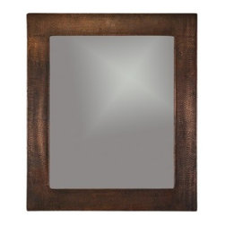 Premier Copper 36″ Hand Hammered Rectangle Copper Mirror MFREC3631 - Uncompromising quality, beauty, and functionality make up this Hand Hammered Copper Rectangle Mirror Frame.  Our hand made copper mirrors complement a wide variety of styles and colors. Green Recyclable Products like Copper Mirror Frames are a must have in today's modern home. This product is sure to impress your guests and satisfaction is always guaranteed.
