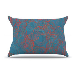 "Kess InHouse - Patternmuse ""Mandala Teal"" Red Blue Pillow Case, King (36"" x 20"") - This pillowcase, is just as bunny soft as the Kess InHouse duvet. It's made of microfiber velvety fleece. This machine washable fleece pillow case is the perfect accent to any duvet. Be your Bed's Curator."
