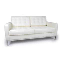 Kardiel Florence Knoll Style Loveseat, Cream White Aniline Leather - The Florence Knoll Sofa, Chair and Loveseat is a design icon. The original design was conceived in 1956 by Florence Knoll, a world class architect and designer. It is a relatively simple design as it was originally meant to complement the classic innovations of Saarinen and Bertoia. The Knoll philosophy of furniture design solves practical and aesthetic design problems. The philosophy results in minimalist beauty, lasting durability and luxurious comfort in one complete package. It is well known that Knoll studied and collaborated with Mies Van Der Rohe. Knoll designed the classic trio using a durable stainless steel frame with minimal materials. Cubic cushions featuring compressed buttons in a purposeful and logical layout provide style and comfort to the supporting thin armed, minimalist frame. Do you notice the similarities in design philosophy to the Mies Van der Rohe's Barcelona Chair? The Knoll Sofa, Love and Chair is becoming even more popular as its minimalist yet functional de