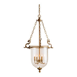 Kathy Kuo Home - Fairfield Classic Hanging Glass Dome 4 Light Lantern Pendant - The classic hanging dome lantern gets an upgrade in this traditional lighting icon with an antique brass finish and intricate metal work throughout.