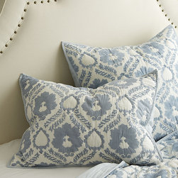 Ballard Designs - Damask Hand Blocked Sham - Pair it with our Damask Quilt. Envelope closure. Coordinates with our Lille Scalloped Linen, Hailey Ruffled & Amelie bedding. The cool blues and lighter weight of our Damask Sham are just right for summer slumber. It's made of soft 100% cotton voile and hand blocked with classic blue damask pattern with matching solid blue reverse. Damask Sham features: . . .