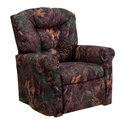 Flash Furniture - Kids Camouflage Fabric Rocker Recliner - Kids will now be able to enjoy the comfort that adults experience with a comfortable recliner that was made just for them! This chair features a strong wood frame with soft foam and then enveloped in durable fabric upholstery for your active child. Choose from an array of colors that will best suit your child's personality or bedroom. This petite sized recliner features a rocker frame for kids to enjoy and feel like a big kid. The rocking feature becomes disabled once the chair is reclined for safety.