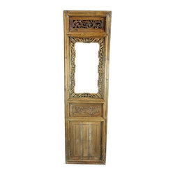 Pre-owned Antique Chinese Window Shutter Geometric Carved - A wonderful antique Chinese window shutter screen panel dating to 1900 in fir from the Zhejiang Province and featuring intricate hand-carved openwork with a repeating geometric pattern around the edge symbolizing infinity.    Overall condition is restored. Shows normal wear and miscellaneous nicks, dings, and scratches due to age and use. There is wood separation on the bottom panel and the original hinge is missing.