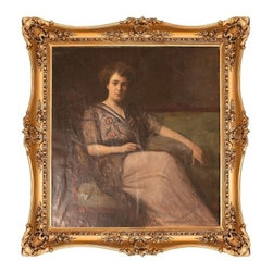 Charlie Ford Vintage - Art and Mirrors - Large antique portrait of a woman by Hungarian artist Armin Glatter in exquisite gilt frame.