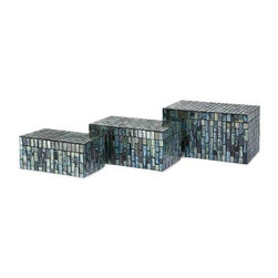 Aramis Mosaic Boxes - Set of 3 - Beautiful glass tiles in undulating shades of blue adorn the surface of the Aramis Mosaic Boxes. This attractive set of three boxes can be displayed together or scattered throughout your home.