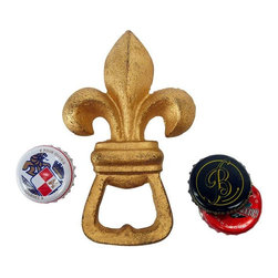 EttansPalace - Fleur De Lis Cast Iron Bottle Opener - Show your vintage style with our antique replica cast iron bottle opener patterned after the effortlessly timeless fleur de lis. Handcrafted exclusively for using the time-honored sand cast method, this antique replica cast iron bottle opener is hand-painted in richly aged vintage gold tones.