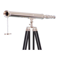 Handcrafted Nautical Decor - Floor Standing Chrome Harbor Master Telescope 60'' - The Floor Standing Chrome Harbor  Master Telescope 60'is a beautiful refractor telescope mounted on a  durable tripod. This telescope is a fully functioning nautical  masterpiece, adding class and sophistication to any room it graces, with  a main scope of solid polished chrome that shines elegantly in the  sunlight. Focusing is accomplished by adjusting the eyepiece ring on the  telescope tube, with up to 15x magnification. A removable chrome cap,  connected by a chain, protects the objective lens when not in use.--The tripod stand features smooth,  polished black legs, each with solid chrome fittings and a screw release to  let you adjust the height. A solid chrome chain holds the three black-painted wooden  legs together so the telescope can maintain its position.--Dimensions: 32'' Long x 25'' Wide x 60'' High--------    15X Magnification--    Polished chrome telescope body--    Glass optics for a clear view (not plastic lenses)--    Fully functional telescope focuses and magnifies--    Sturdy tripod supports telescope when viewing --    Custom engraving/photo etching available: Logos,  pictures or slogans can be easily put on any item. Typical minimum  custom order is 100+ pieces. Minimum lead-time to produce and engrave is  4+ weeks. --    --