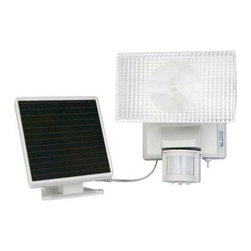 Maxsa Innovations - Solar Security Floodlight 50 LEDs - Motion-Activated 50 LED Security Floodlight is Perfect for entryways, walkways, sheds, patios, balconies, decks, steps, garages, driveways, carports, and backyard and farm sheds. Also great for RVs and other areas where electricity is not available. 50 super bright LED lights provide excellent illumination and efficiency.  Light automatically turns on when motion is detected at night for security, safety, and convenience.  Easy DIY installation. No wiring. No electrician needed.  Includes 6V 2Ah sealed lead acid rechargeable battery.  Adjustable motion sensor detects motion up to 35 feet away within a 180 degree detection area.  15 foot cable allows ideal location for solar panel and lets you mount the light inside, if desired.  Uses free energy from the sun.  Time, motion sensitivity, and LUx (daylight sensitivity) adjustments.  Light can activate up to 100 times when on for 1 minute at a time.  Durable weatherproof housing.  Off-white finish.