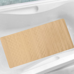 None - All Natural Rubber 18x36-inch Seashell Bath Mat - A subtle embellished seashell pattern adds a touch of breezy,coastal style to this bath mat. Crafted with pure,natural rubber,this easy-to-clean beige or white mat easily secures to any tub with suction cups and is machine washable.