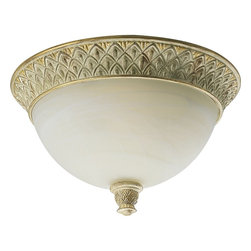 Progress Lighting - Progress Lighting Savannah Traditional Flush Mount Ceiling Light X-24-9353P - The unique beige and golden undertones of the Seabrook finish emphasize the finer details of this charming Progress Lighting flush mount ceiling light. From the Savannah Collection, the pineapple patterning has been paired with a classic antique alabaster glass shade that completes the look.