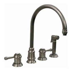 Whitehaus Collection - Whitehaus WH15664 Widespread Lever Handles Goose Neck Faucet & Side Spray - Widespread lever handles goose neck faucet with side spray by Whitehaus combines classic and timeless touch to your kitchen. Mixture of traditional elegant design and modern d?cor details are making this kitchen faucet timeless. High arch goose neck, two lever handle with matching elegant designed side spray provides plenty of room for kitchen tasks.