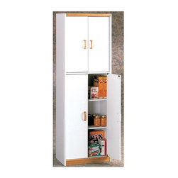 Ameriwood - Pantry Cabinet w Four Doors - Never worry about storage space when you have this attractive pantry cabinet to organize your canned and boxed goods. It comes with four doors and a bright white color detailed with solid wood handles and medium Oak accents at the top and on the bottom. * White finish with medium oak accentsSolid wood handles5 shelves for storageIdeal for pantry or laundry. 24 in. W x 14 in. D x 72 in. H (98 lbs.)