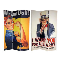 """Oriental Furniture - 6 ft. Tall Double Sided WWII Posters Room Divider - Celebrate the spirit of America with two patriotic wartime art prints. On the front is the iconic U.S. military enlistment poster, featuring  Uncle Sam  in his star-spangled top hat, pointing his finger and declaring """"I Want You"""". On the back is the vintage World War II image of  Rosie the Riveter  flexing her bicep, inviting stay-at-home moms to join the war effort and the job market. These historical prints from the  Good Old U. S. of A.  will bring unabashedly American design elements to your living room, bedroom, dining room, or kitchen. This three panel screen has different images on each side, as shown."""
