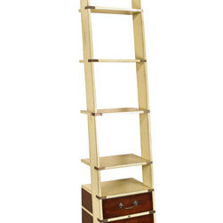 "Ivory Library Ladder - The ivory library ladder measures 17.75"" x 19.75"" x 96.50"". Like a real Library Ladder this one folds on brass hinges and is easily installed. The top and bottom have brass sleeves on four sides. It fits together with wood dowels and screws. It ships in two parts and is easily assembled. Flush inlaid brass hardware includes hefty bronzed drawer handles. This bookcase will survive for centuries..."