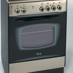 """Avanti - 24"""" Electric Range - Free Standing 24"""" Electric Range, Oven Temperature Range: 200-450 Degrees F (93-232 Degrees C), Bake & Broil Oven for Maximum Versatility, Waist High Broiler, Broil Pan Assembly, Oven Vent to Allow Air to Circulate Properly, 4 Radiant Plates - Black Glass Top, 2 Oven Racks, Splashguard, Oven Door Handle, Leveling Legs, Anti-Tip Anchor Bracket, See-Thru Glass Door, Switch-Controlled Oven Light, Storage Drawer, Unit dimensions (39.5 x 23.5 x 26)"""