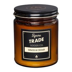 Square Trade Goods Co. - Grass & Cedar Soy Candle - Grass & Cedar - Warm cedar, mahogany and teak woods mixed with freshly cut grass.