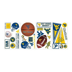 RoomMates Peel & Stick - West Virginia University Wall Decals - Get your team spirit on with this set of collegiate multi-sports wall stickers. Our West Virginia University wall decals can be placed safely on any smooth surface. Great for bedrooms, dorm rooms, and offices. You can move them around whenever you like, or replace them on their original liners for later use. Use them to decorate a room during your next football party, then store them until the next game. Works on tiles, accessories, mirrors, lockers, refrigerators, laptop covers, and even cars! RoomMates are so much more versatile than a conventional sticker. They can be moved and reused countless times, meaning you can use them for temporary party decorating or in dorms where permanence isn't an option. Pair them with the coordinating Mountaineers border for even more college sports fun! A great gift idea, too