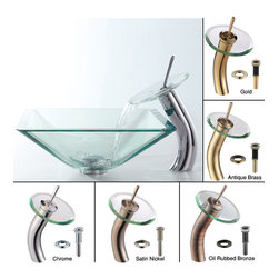 Kraus - Kraus Clear Aquamarine Glass Vessel Sink and Waterfall Faucet Satin Nickel - *Add a touch of elegance to your bathroom with a glass sink combo from Kraus