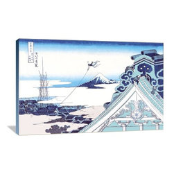 """Artsy Canvas - Kite Flying In View Of Mount Fuji 36"""" X 24"""" Gallery Wrapped Canvas Wall Art - Kite Flying in View of Mount Fuji - Katsushika Hokusai (1760 beautifully represented on 36"""" x 24"""" high-quality, gallery wrapped canvas wall art"""