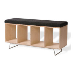"""Offi - Modern Bench Box with Pad on Legs - This stylish Birch Ply bench box features sturdy steel tube legs and a comfortable Orange or Gray wool upholstered seat.  This bench goes a step farther, offering a separate series of compartments underneath the bench.  Indulge an afternoon glass of Primitivo while drifting away on your luxuriously crafted and hypnotically designed entryway bench featuring comfortable  cushioned seating and a sturdy birch and plywood base.  But this bench goes a step farther, offering a separate series of compartments underneath the bench, capable of holding shoes, slippers, or more personal items if utilized in the bedroom!  Capable of holding shoes, slippers, or more personal items if utilized in the bedroom! * This minimal contemporary bench offers maximal function. A benchbox that can be used not only as comfy seating. Also extra storage for favored books, magazines and brik-a-brak. Matching bench unit with no fabric doubles both coffee table and storage unit. Measures: 15""""d x 44""""w x 23""""h . Inside measurement, each of the 4 boxes: 10""""w x 13.25""""h x 15""""d . Made of: birch ply w/ wool uphol cover - steel tube leg . 4"""" gray locking casters"""
