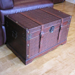 None - Georgetown Medium Faux Leather Wooden Chest - These Georgetown chest boxes are all handcrafted and tailored to enhance the existing decor of any room in the home. These medium trunks are also trimmed in faux leather and provide ample storage space.