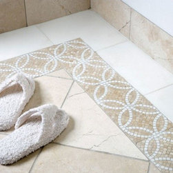 AKDO - Eternity Imperial Mosaic Border - AKDO Eternity Imperial mosaic installed on bathroom floor with honed Bursa Beige marble field tile.